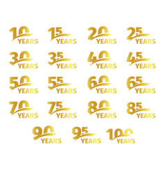 isolated golden color numbers with word years vector image vector image