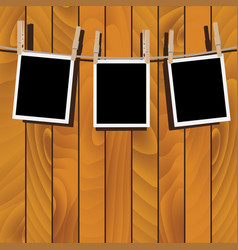 photo frames on rope vector image vector image