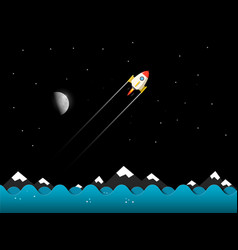 rocket with moon night landscape vector image