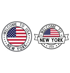 welcome to new york stamps colored round stamps vector image