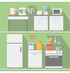 Flat kitchen with cooking tools equipment vector image vector image