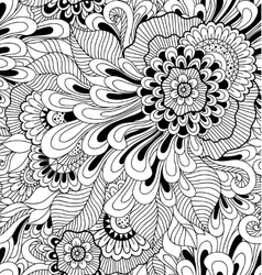 Floral seamless pattern in zen-tagle style vector image vector image