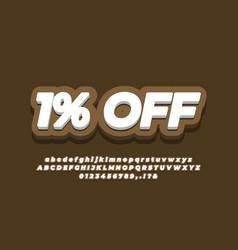 1 percent sale discount promotion text 3d vector