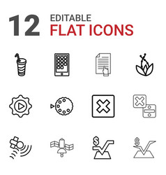 12 application icons vector image