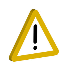 3d sign of the notifications yellow triangle vector