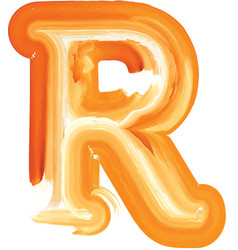 Abstract oil paint letter r vector