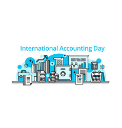 accounting day banner outline style vector image