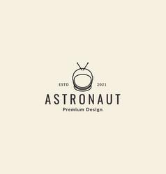 Astronaut helmet lines hipster logo symbol icon vector