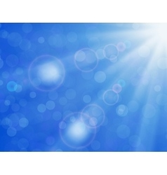 background with shiny sun over a blue sky vector image