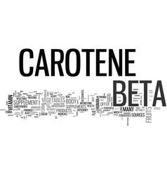 Beta carotene text word cloud concept vector