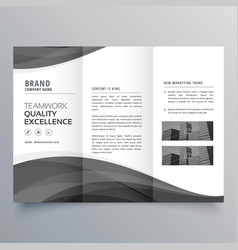 Black wave business trifold brochure design vector