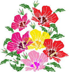 Blooming pink red and yellow mallow green leaves vector
