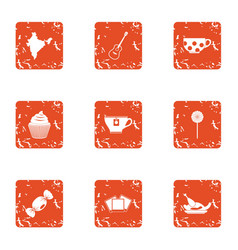 Broth icons set grunge style vector