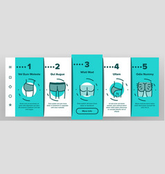 Butt human body part onboarding icons set vector