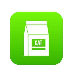 Cat food bag icon digital green vector