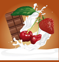 chocolate and berries flyer vector image