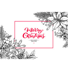 christmas wreath frame hand drawn vector image