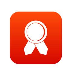 Circle badge wih ribbons icon digital red vector