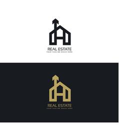 Clean house logo concept design with arrow symbol vector