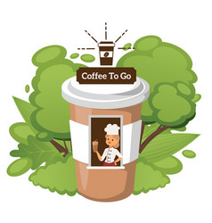 Coffee to go kiosk in shape paper cup woman vector