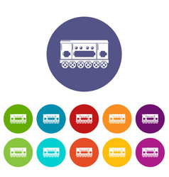 compartment carriage icons set color vector image