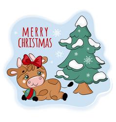 Cozy bull under christmas tree cartoon vector