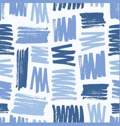 creative seamless pattern with rough blue brush vector image