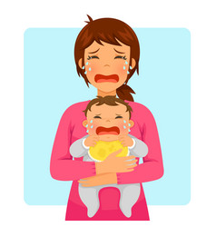Crying baby and mom vector