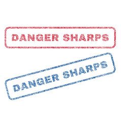 danger sharps textile stamps vector image