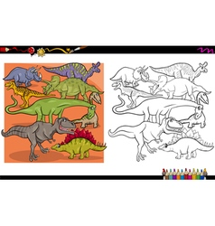 dino characters coloring book vector image