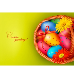 Easter background with Easter eggs and flowers vector