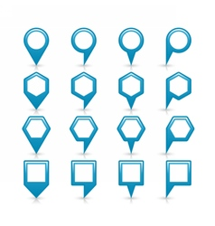 Flat blue color map pin sign location icon vector image