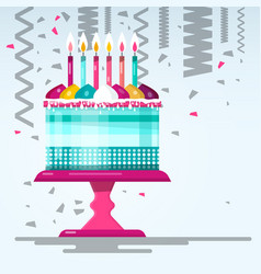 flat design birthday cake vector image
