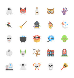 Flat icons halloween pack vector
