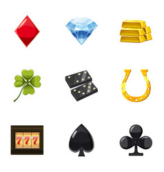 gaming luck icons set cartoon style vector image