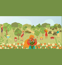 garden care gardening people and fruits on trees vector image