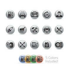 gas station icons - metal round series vector image
