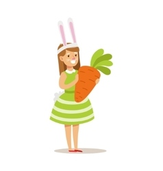 Girl In Rabbit Costume Holding Giant Carrot vector