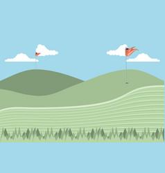 Golf curse scene icon vector
