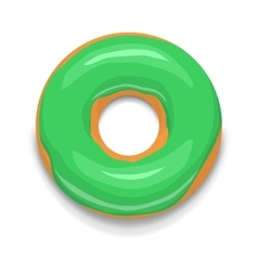 Green glazed donut icon cartoon style vector image
