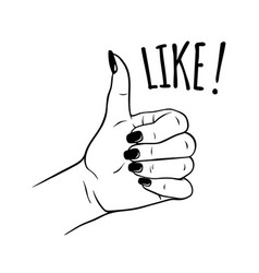 Hand drawn female hand in like gesture vector