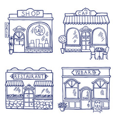 Hand drawn of different buildings and vector