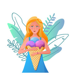 happy girl eating a big ice cream with fruits and vector image