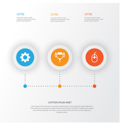 Hardware icons set collection of control device vector