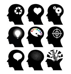 head icons with idea symbols vector image