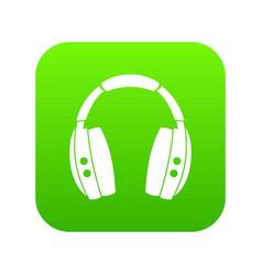 headphones icon digital green vector image