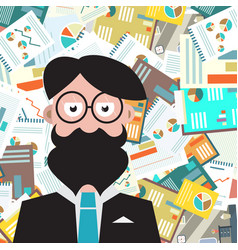 hipster man with paperwork background vector image