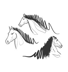 horse race doodle drawing set collection pet power vector image