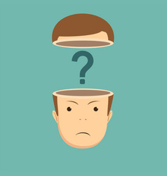 human head open with question mark vector image