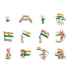 India flag and hand on white background vector